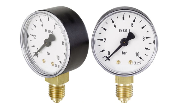 Bourdon tube pressure gauge, back or lower mount connection